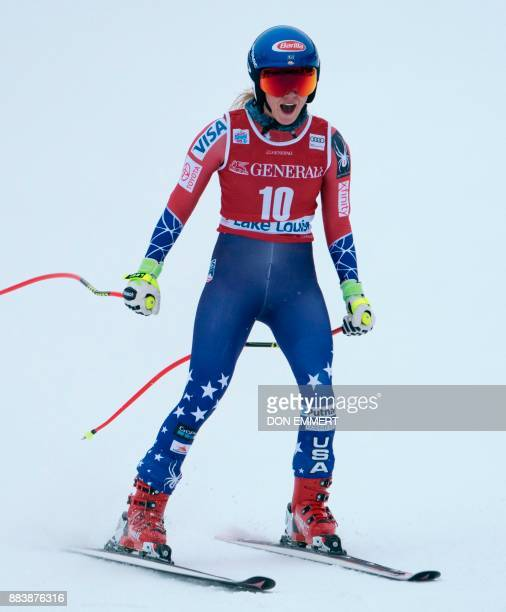 Mikaela Shiffrin of the US reacts as she crosses the finish line to finish in third place during the FIS Ski World Cup Women's Downhill December 1...