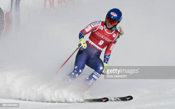 Mikaela Shiffrin of the US slides through the finish area in first place during the FIS Ski World Cup Women's Downhill December 2 2017 in Lake Louise...