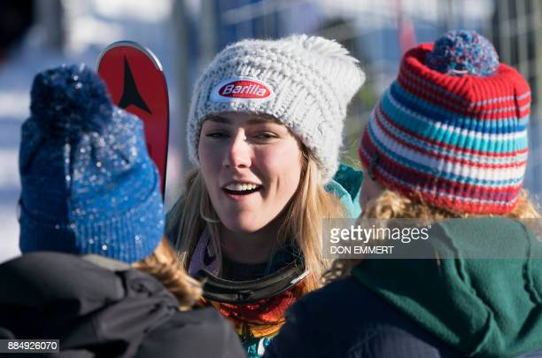 Mikaela Shiffrin of the US talks to reporters about her fifth place finish during the FIS Ski World Cup Women's Super G on December 3 2017 in Lake...