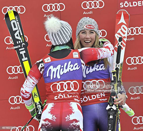 Mikaela Shiffrin of the USA and Anna Fenninger of Austria take joint first place during the Audi FIS Alpine Ski World Cup Women's Giant Slalom on...