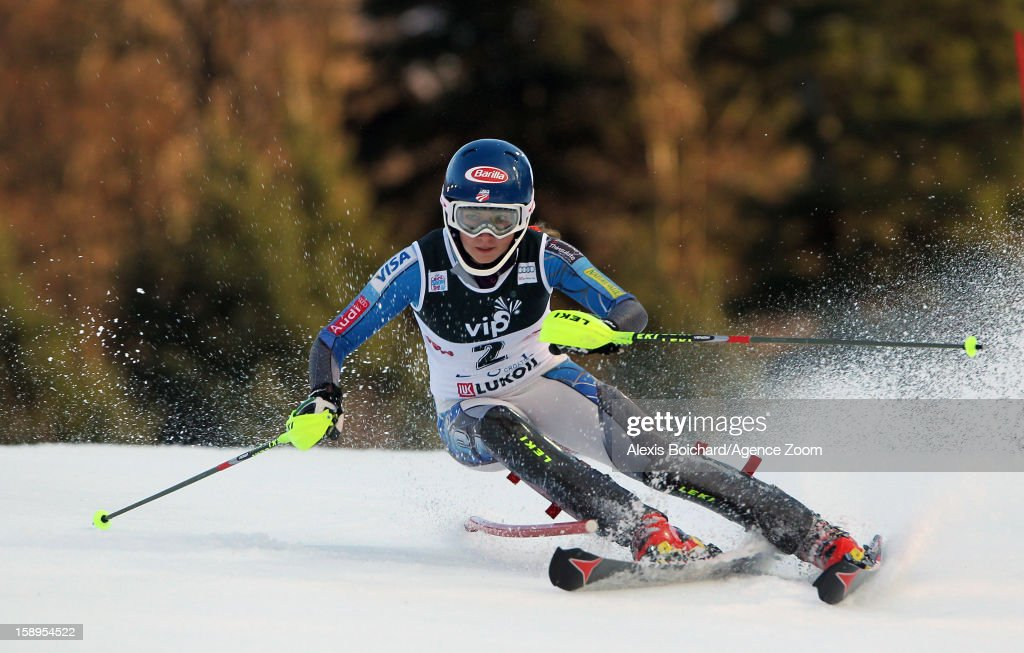 Mikaela Shiffrin of the USA competes during the Audi FIS Alpine Ski World Cup Women's Slalom on January 4, 2013 in Zagreb, Croatia.
