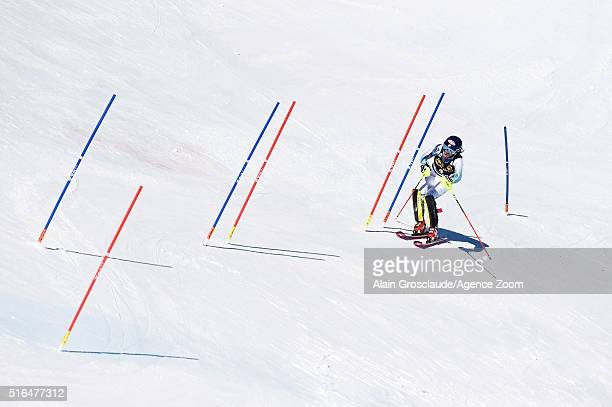 Mikaela Shiffrin of the USA competes during the Audi FIS Alpine Ski World Cup Finals Men's Giant Slalom and Women's Slalom on March 19 2016 in St...