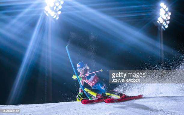TOPSHOT Mikaela Shiffrin of the USA competes during the first run at the ladies world cup slalom in Flachau Austria on January 9 2018 EXPA / Johann...