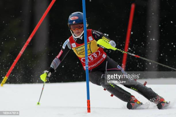 Mikaela Shiffrin of the USA races down the course whilst competing in the Audi FIS Alpine Ski World Cup Women's Slalom on March 10 2013 in...