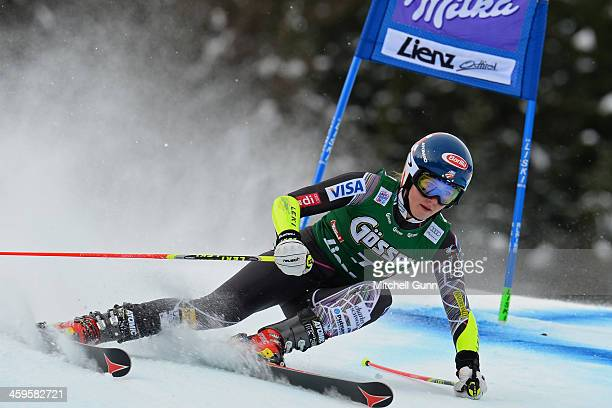 Mikaela Shiffrin of The USA races down the course whilst competing in the FIS Alpine World Cup giant Slalom race on December 28, 2013 in Lienz,...