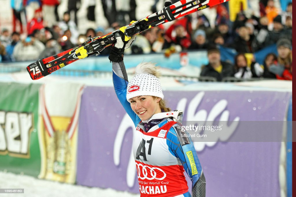 Mikaela Shiffrin of the USA reacts in the finish area after winning after winning the Audi FIS Alpine Ski World Cup Slalom race on January 15, 2013 in Flachau, Austria.