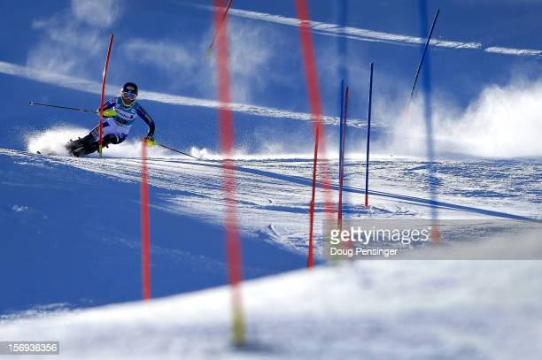 Mikaela Shiffrin of the USA skis the first run of the women's slalom at the Nature Valley Aspen Winternational Audi FIS Ski World Cup at Aspen...