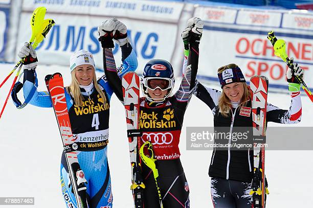 Mikaela Shiffrin of the USA takes 1st place and wins the overall slalom World Cup globe Frida Hansdotter of Sweden takes 2nd place and comes second...