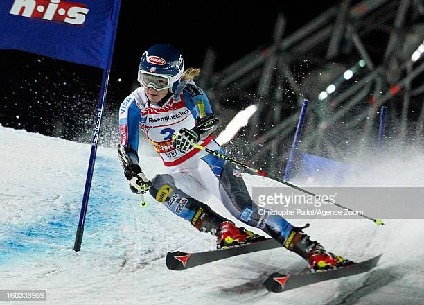 Mikaela Shiffrin of the USA takes 3rd place competes during the Audi FIS Alpine Ski World Cup Men and Women's Parallel slalom on January 29 2013 in...