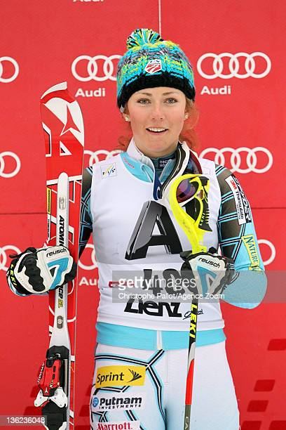 Mikaela Shiffrin of the USA takes 3rd place during the Audi FIS Alpine Ski World Cup Women's Slalom on December 29, 2011 in Lienz, Austria.