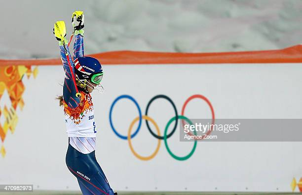 Mikaela Shiffrin of the USA wins the gold medal during the Alpine Skiing Women's Slalom at the Sochi 2014 Winter Olympic Games at Rosa Khutor Alpine...