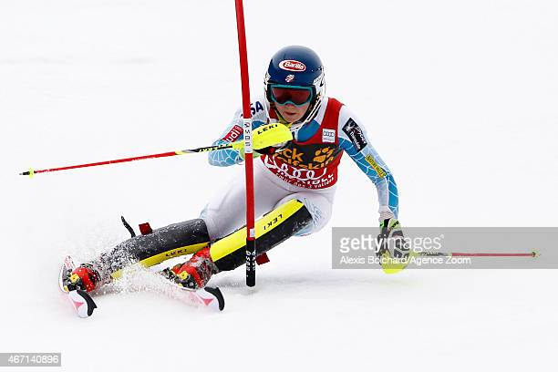 Mikaela Shiffrin of the USA wins the race and the overall World Cup slalom globe during the Audi FIS Alpine Ski World Cup Finals Women's Slalom on...