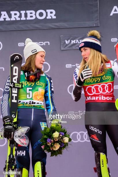 MARIBOR SLOVENIA MARIBOR SLOVENIA Mikaela Shiffrin of United States of America and Anna Swenn Larsson of Sweden celebrating at the Audi FIS Alpine...