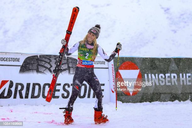 Mikaela Shiffrin of United States of America at the flower ceremony of the AUDI FIS Ski World Cup Ladies Giant Slalom on October 27 2018 in Soelden...