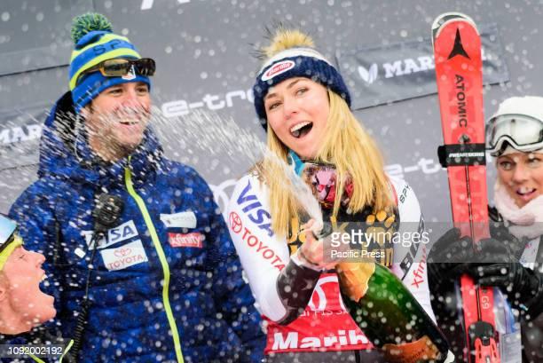 MARIBOR SLOVENIA MARIBOR STAJERSKA SLOVENIA Mikaela Shiffrin of United States of America having a champagne shower on the podium celebrating her...