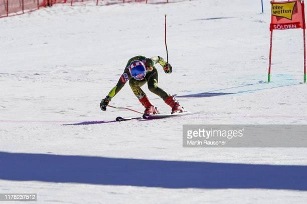 Mikaela Shiffrin of United States of America in the second run of the Audi FIS Alpine Ski World Cup - Women's Giant Slalom at Rettenbachferner on...