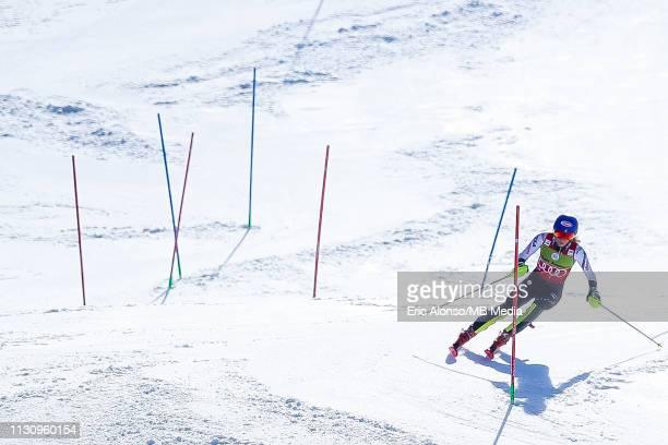 Mikaela Shiffrin of United States of America on March 16, 2019 in Andorra la Vella, Andorra.