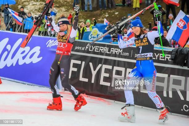 Mikaela Shiffrin of United States of Amerika and Petra Vlhova of Slovakia during the Audi FIS Alpine Ski World Cup Women's Giant Slalom at Maribor on...