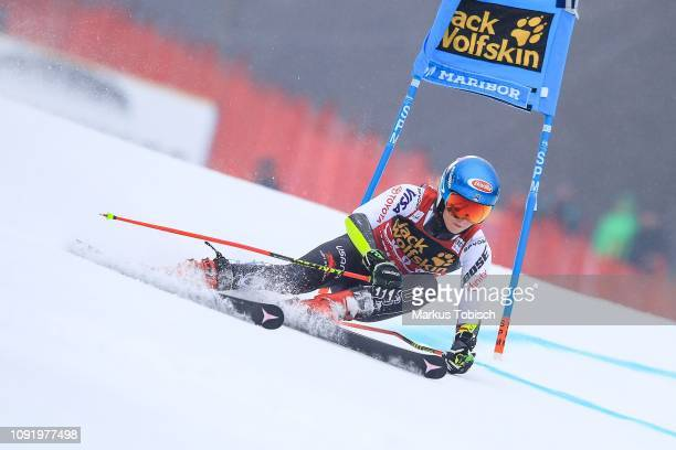 Mikaela Shiffrin of United States of Amerika during the Audi FIS Alpine Ski World Cup Women's Giant Slalom at Maribor on February 1 2019 in Maribor...