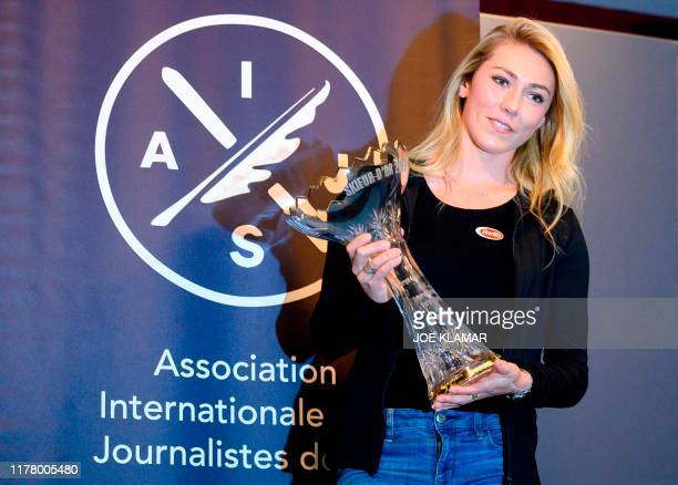 Mikaela Shiffrin of US poses with the 2019 Skieur D'Or trophy during the Forum Alpinum event prior to the FIS Ski Alpine Worldcup opening in Soelden...