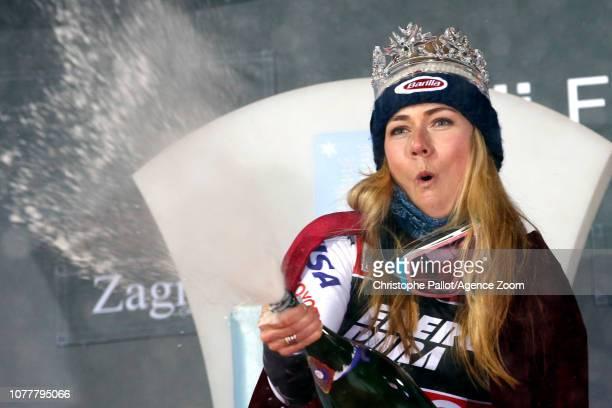 Mikaela Shiffrin of USA celebrates during the Audi FIS Alpine Ski World Cup Women's Slalom on January 5 2019 in Zagreb Croatia