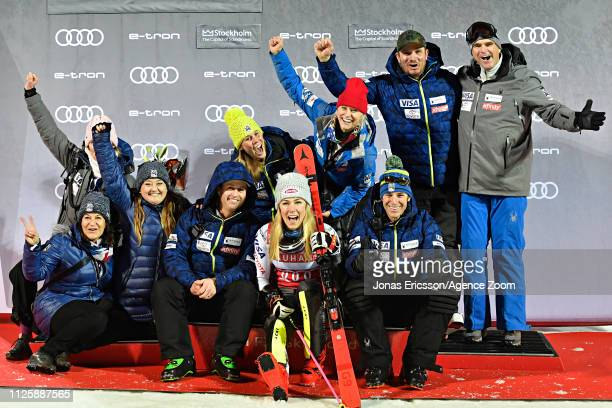 Mikaela Shiffrin of USA celebrates during the Audi FIS Alpine Ski World Cup Men's and Women's City Event on February 19 2019 in Stockholm Sweden