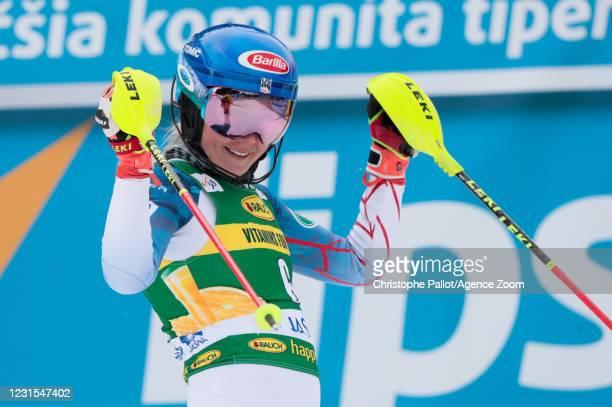 Mikaela Shiffrin of USA celebrates during the Audi FIS Alpine Ski World Cup Women's Slalom on March 6, 2021 in Jasna Slovakia.