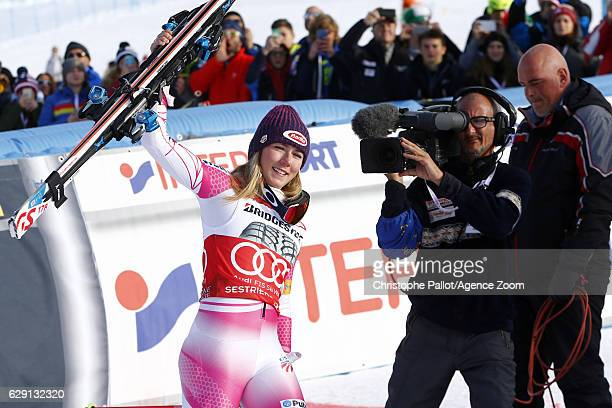 Mikaela Shiffrin of USA celebrates during the Audi FIS Alpine Ski World Cup Women's Slalom on December 11 2016 in Sestriere Italy