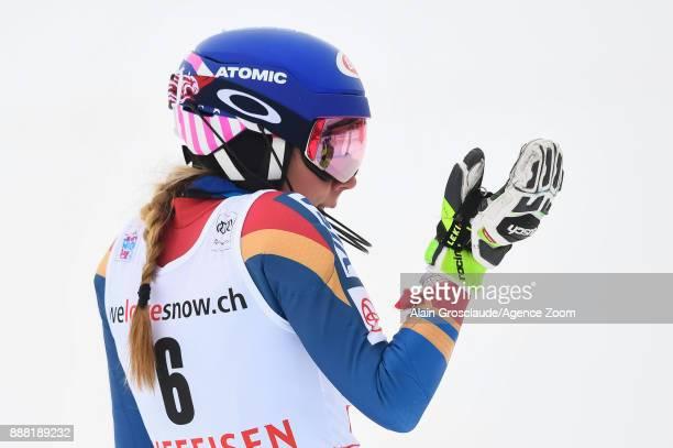 Mikaela Shiffrin of USA celebrates during the Audi FIS Alpine Ski World Cup Women's Combined on December 8 2017 in St Moritz Switzerland