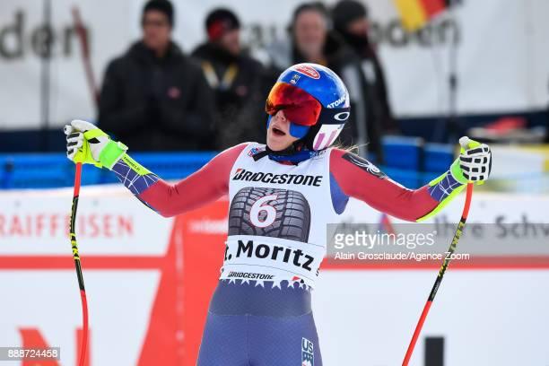 Mikaela Shiffrin of USA celebrates during the Audi FIS Alpine Ski World Cup Women's Super G on December 9 2017 in St Moritz Switzerland