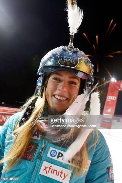 Mikaela Shiffrin of USA celebrates during the Audi FIS Alpine Ski World Cup Women's Parallel Slalom on December 20 2017 in Courchevel France