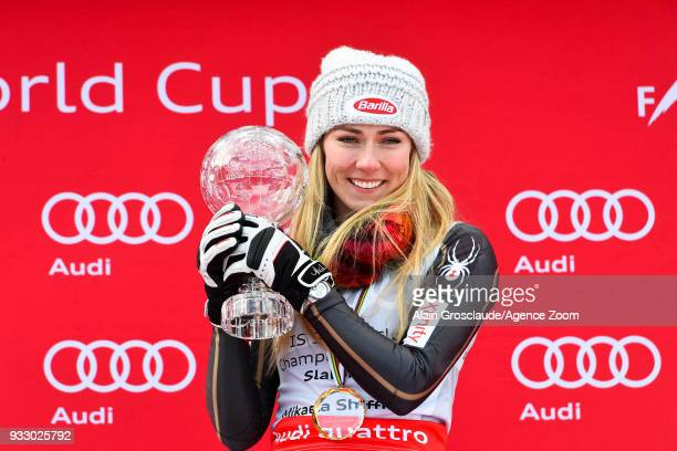 Mikaela Shiffrin of USA celebrates during the Audi FIS Alpine Ski World Cup Finals Women's Slalom on March 17 2018 in Are Sweden