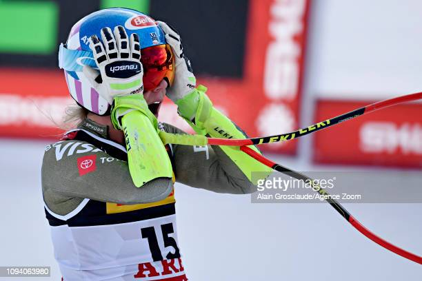 Mikaela Shiffrin of USA celebrates during the FIS World Ski Championships Women's Super G on February 5 2019 in Are Sweden