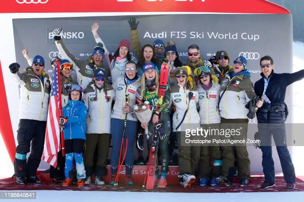Mikaela Shiffrin of USA celebrates, Usa Team celebrates during the Audi FIS Alpine Ski World Cup Women's Downhill on January 24, 2020 in Bansko...