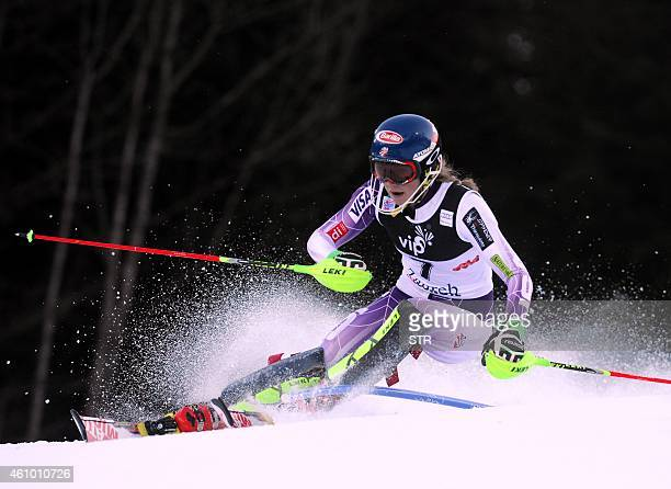 Mikaela Shiffrin of USA clears the pole during the first run of the FIS slalom ski event on mounting Sljeme some 10 kilometers from capital Zagreb on...