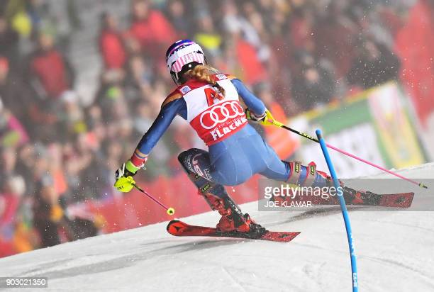 Mikaela Shiffrin of USA competes during first run of the FIS World Cup Ladies night Slalom race in FlachauAustria on January 9 2018 / AFP PHOTO / JOE...