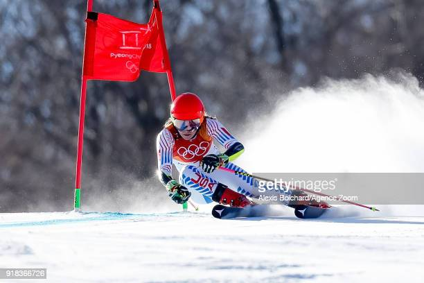 Mikaela Shiffrin of USA competes during the Alpine Skiing Women's Giant Slalom at Yongpyong Alpine Centre on February 15, 2018 in Pyeongchang-gun,...