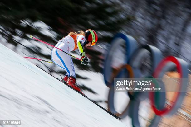 Mikaela Shiffrin of USA competes during the Alpine Skiing Women's Giant Slalom at Yongpyong Alpine Centre on February 15 2018 in Pyeongchanggun South...