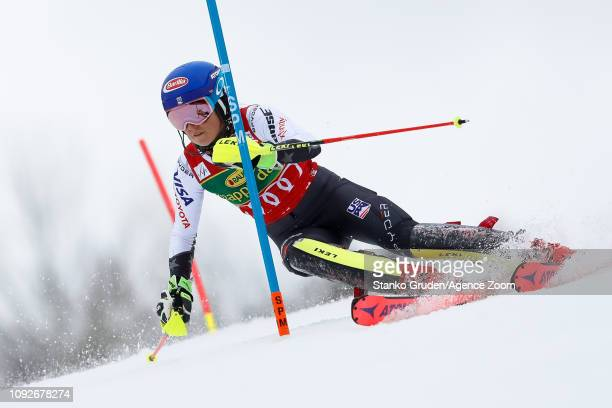 Mikaela Shiffrin of USA competes during the Audi FIS Alpine Ski World Cup Women's Slalom on February 2, 2019 in Maribor Slovenia.