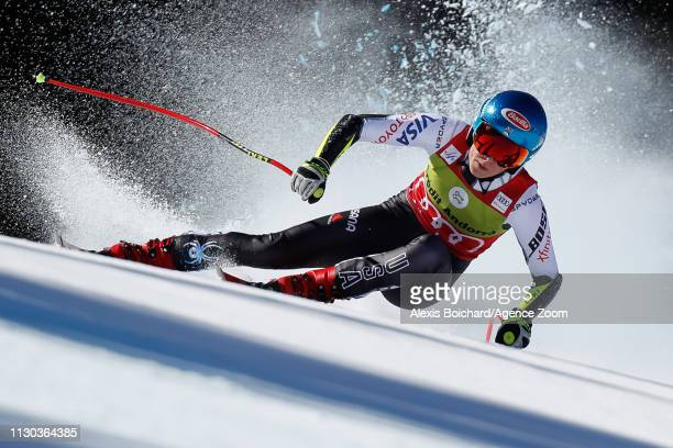 Mikaela Shiffrin of USA competes during the Audi FIS Alpine Ski World Cup Men's and Women's Super G on March 14, 2019 in Soldeu Andorra.