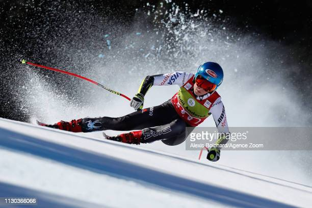 Mikaela Shiffrin of USA competes during the Audi FIS Alpine Ski World Cup Men's and Women's Super G on March 14 2019 in Soldeu Andorra