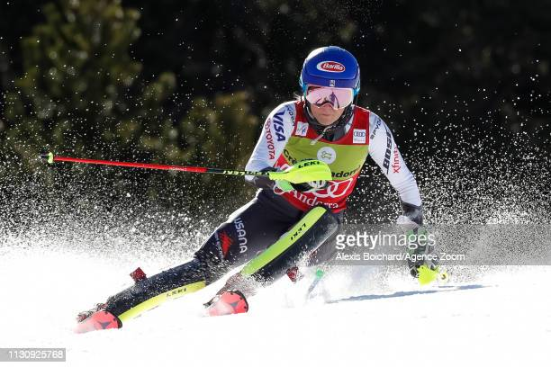 Mikaela Shiffrin of USA competes during the Audi FIS Alpine Ski World Cup Men's Giant Slalom and Women's Slalom on March 16, 2019 in Soldeu Andorra.