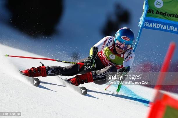 Mikaela Shiffrin of USA competes during the Audi FIS Alpine Ski World Cup Men's Slalom and Women's Giant Slalom on March 17 2019 in Soldeu Andorra