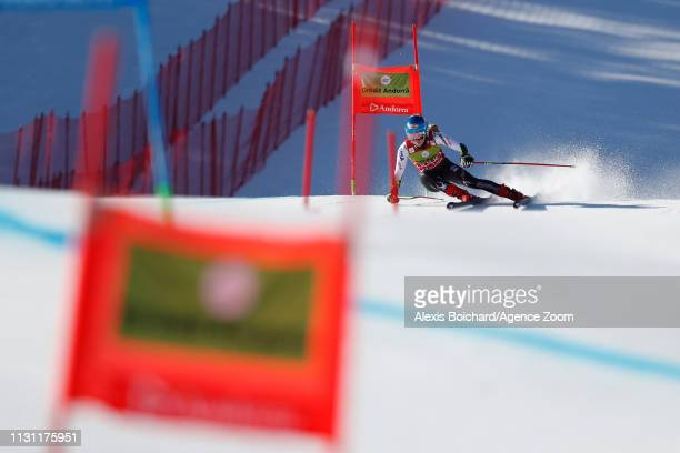 Mikaela Shiffrin of USA competes during the Audi FIS Alpine Ski World Cup Men's Slalom and Women's Giant Slalom on March 17, 2019 in Soldeu Andorra.