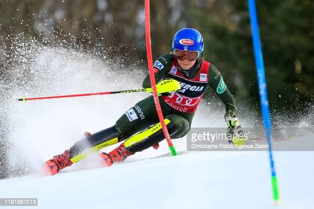 Mikaela Shiffrin of USA competes during the Audi FIS Alpine Ski World Cup Women's Slalom on January 4, 2020 in Zagreb Croatia.