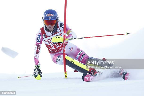 Mikaela Shiffrin of USA competes during the Audi FIS Alpine Ski World Cup Women's Slalom on November 27 2016 in Killington Vermont