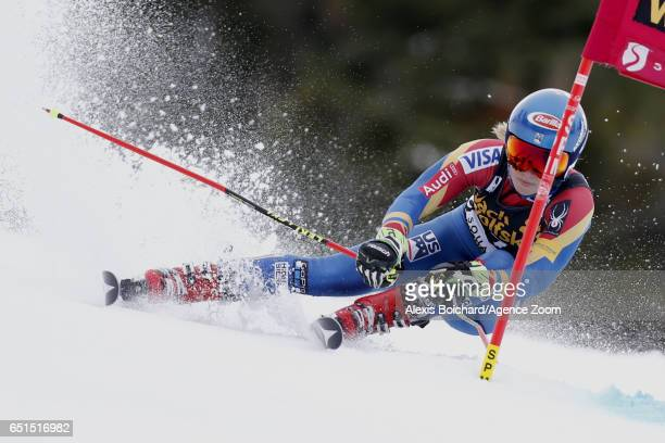 Mikaela Shiffrin of USA competes during the Audi FIS Alpine Ski World Cup Women's Giant Slalom on March 10 2017 in Squaw Valley California