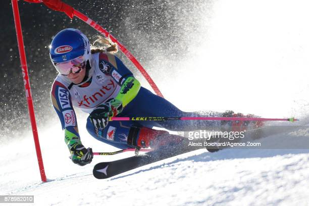 Mikaela Shiffrin of USA competes during the Audi FIS Alpine Ski World Cup Women's Giant Slalom on November 25 2017 in Killington Vermont