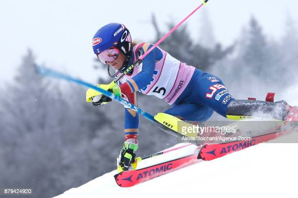 Mikaela Shiffrin of USA competes during the Audi FIS Alpine Ski World Cup Women's Slalom on November 26 2017 in Killington Vermont