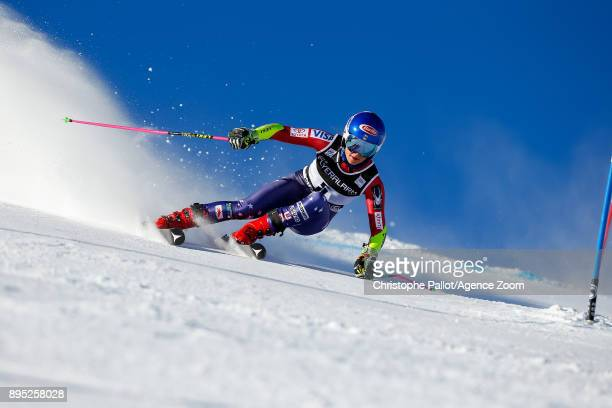 Mikaela Shiffrin of USA competes during the Audi FIS Alpine Ski World Cup Women's Giant Slalom on December 19 2017 in Courchevel France